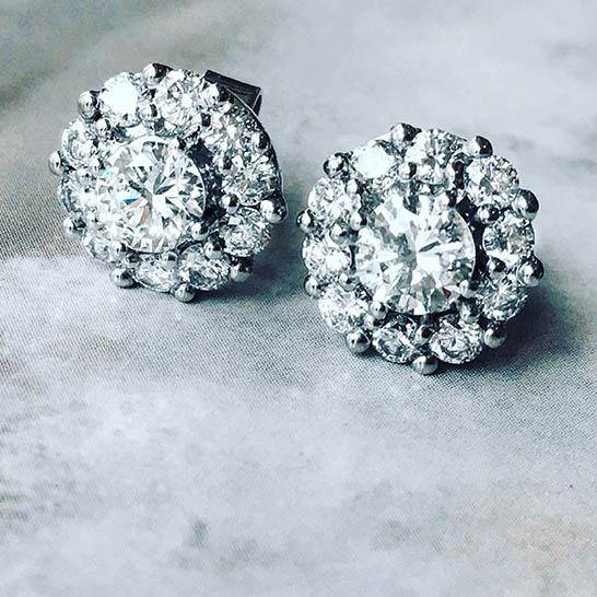 diamond halo earrings- haywards of hong kong