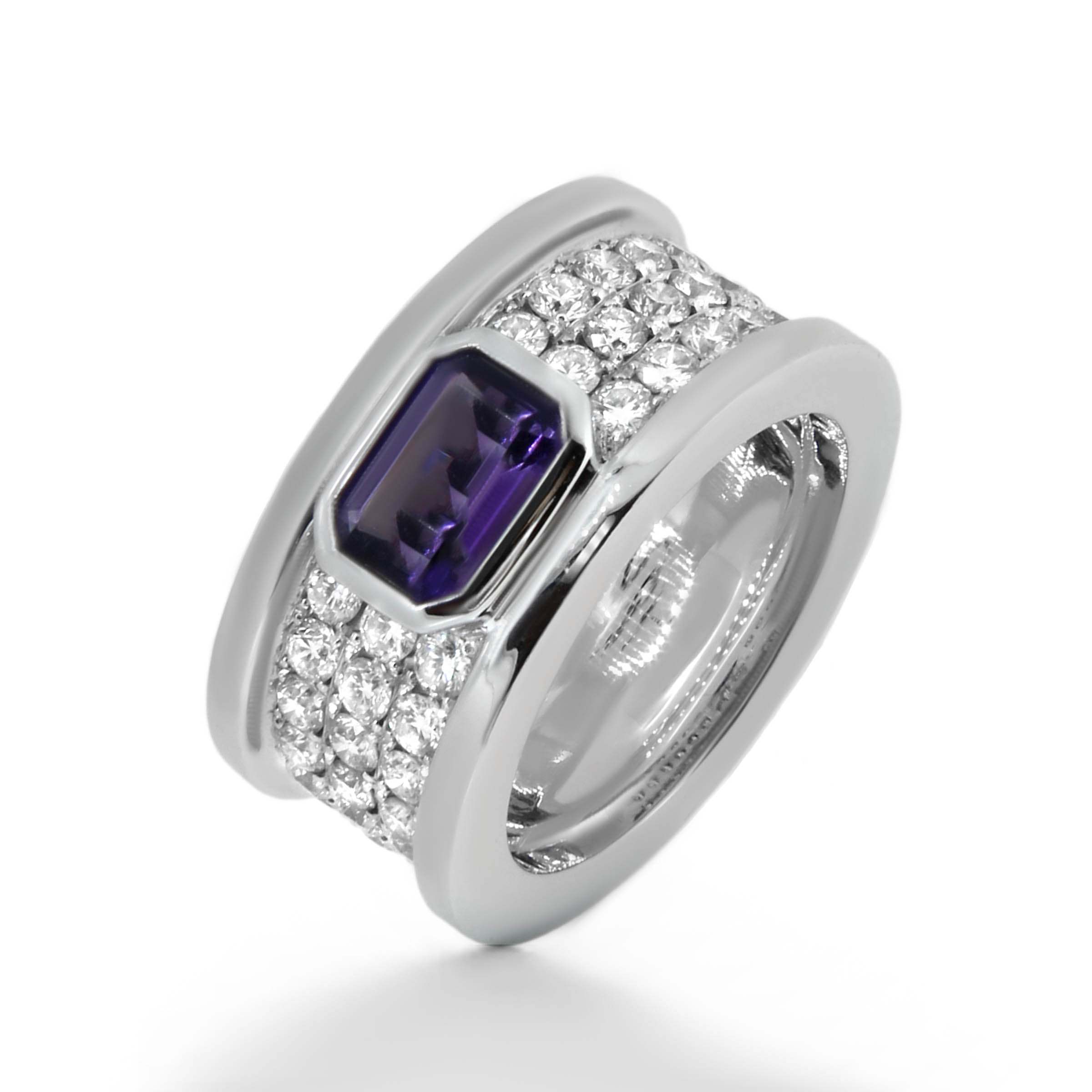 amethyst and diamond pave ring- haywards of hong kong