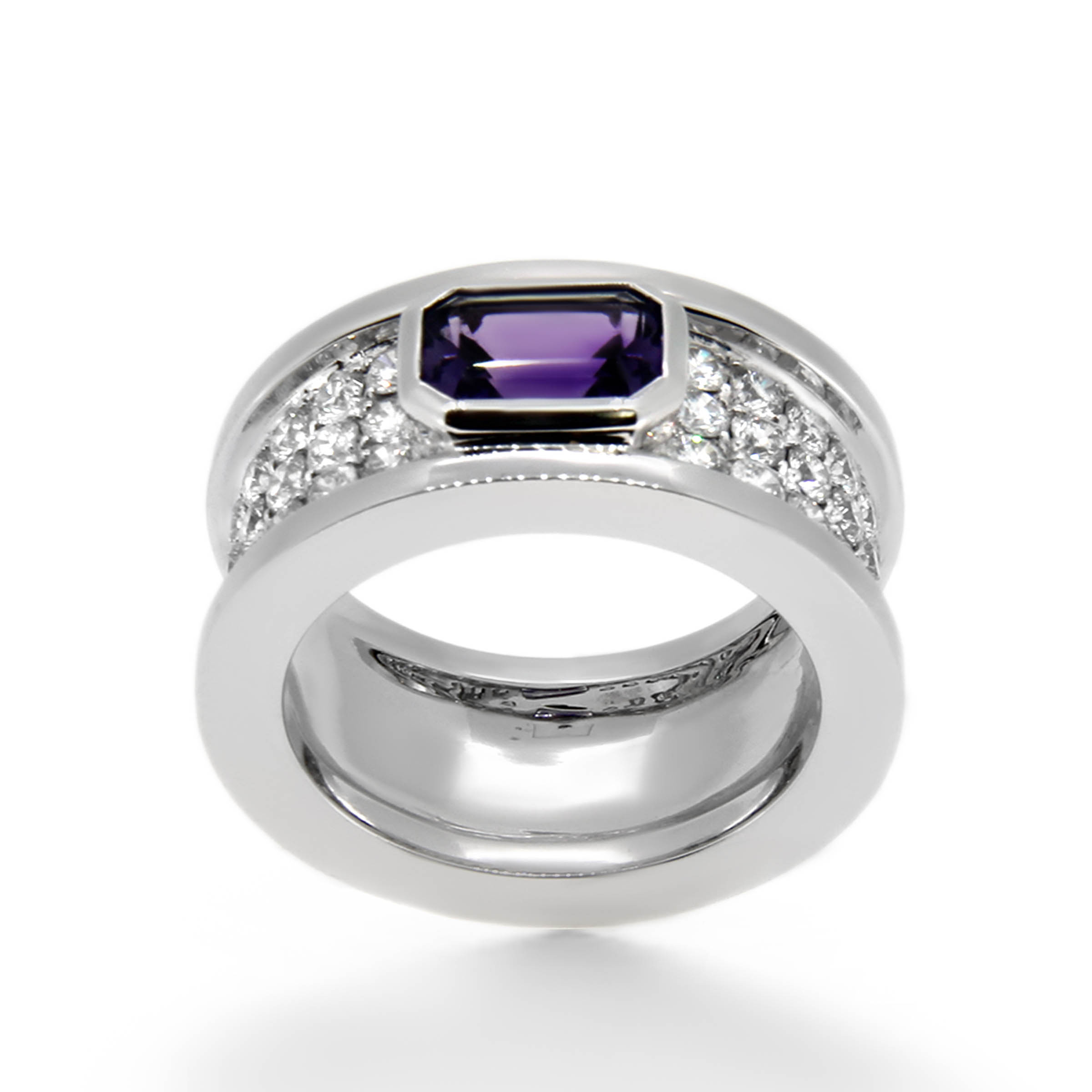 amethyst and diamond pave dress ring- haywards of hong kong