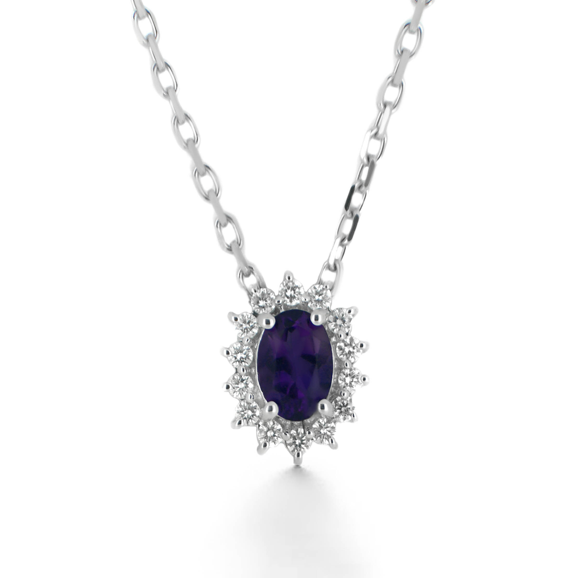 amethyst and diamond halo pendant- haywards of hong kong