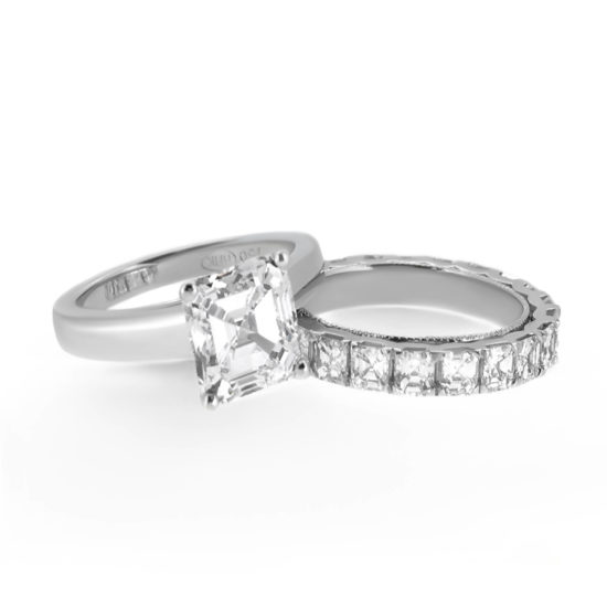asscher cut diamond ring and wedding band- haywards of hong kong