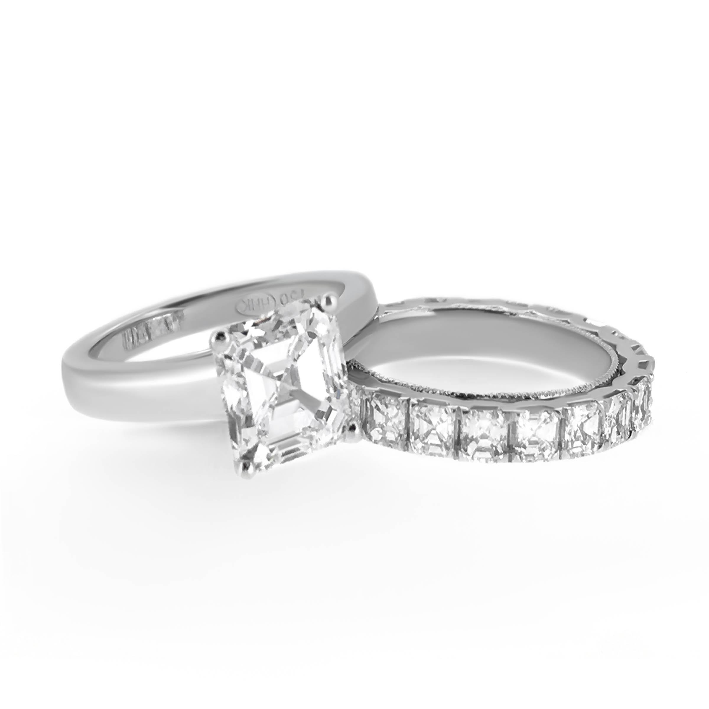 asscher cut diamond ring and wedding band- haywards of hong kong