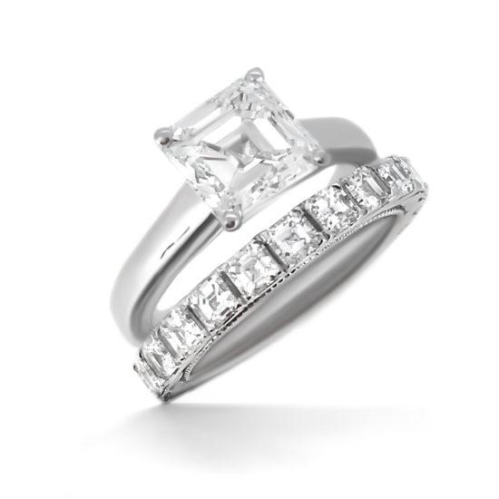 asscher cut diamond engagement ring and wedding band set- haywards of hong kong