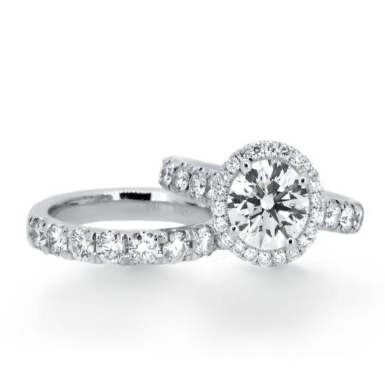 round diamond halo engagement ring and wedding band- haywards of hong kong