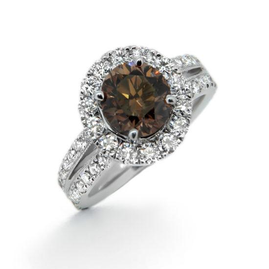 brown diamond halo engagement ring- haywards of hong kong