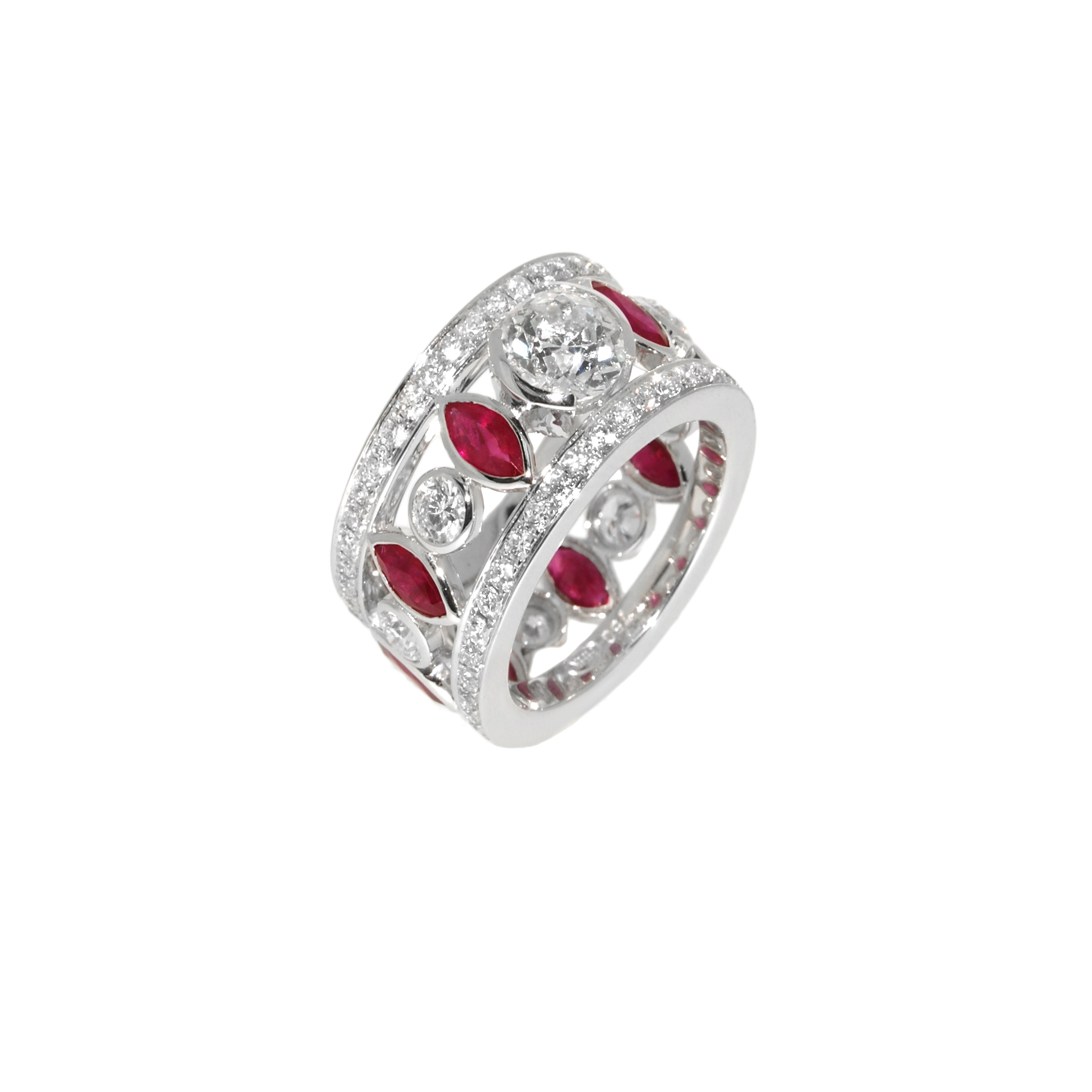 diamond and ruby dress ring- haywards of hong kong