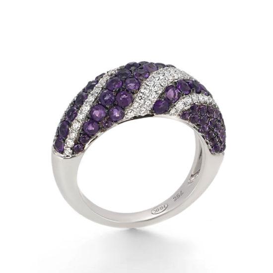 amethyst and diamond dress ring- haywards of hong kong