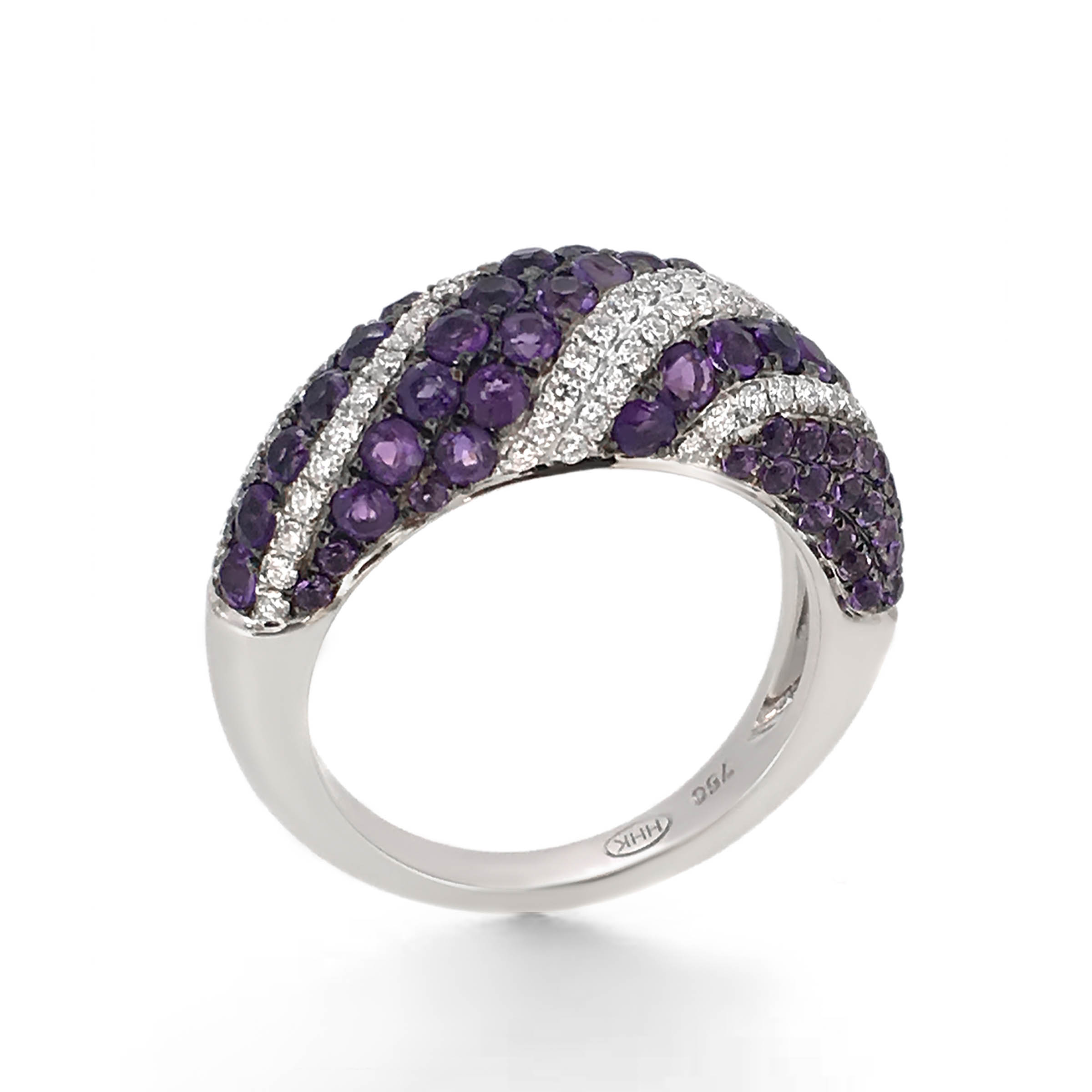 amethyst and diamond dress ring- haywards of hong kong