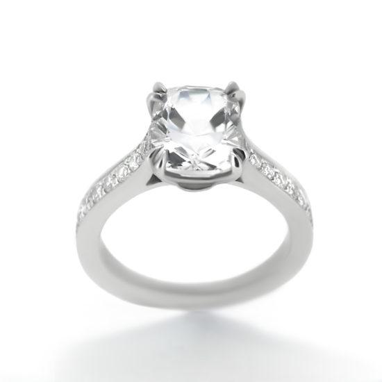 cushion cut diamond ring with side-stones- haywards of hong kong