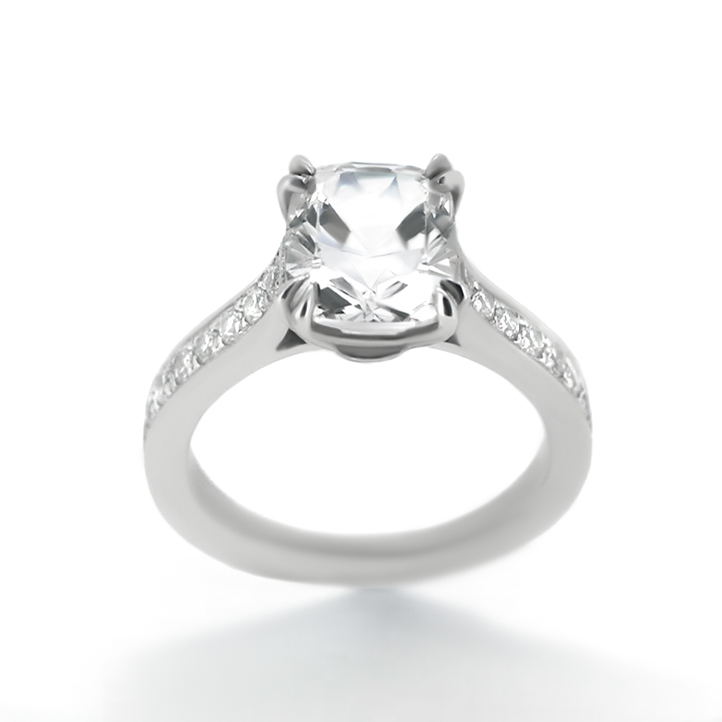 cushion cut diamond ring with side-stones- haywards of hong kong