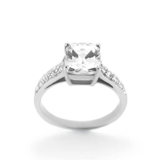 cushion cut diamond with side-stones engagement ring- haywards of hong kong
