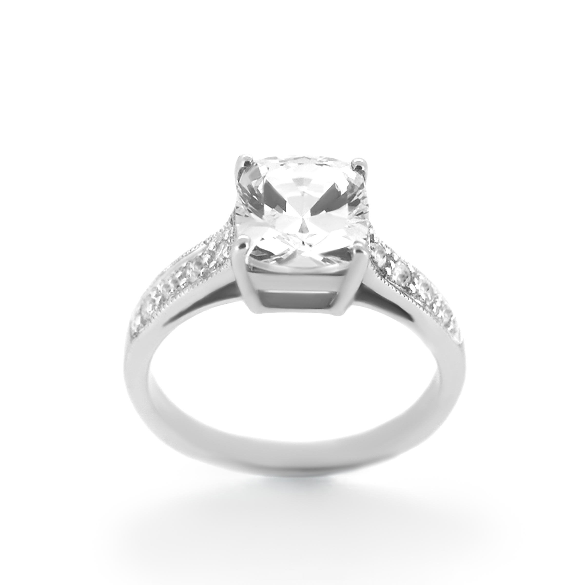 cushion cut diamond with side-stones engagement ring- haywards of hong kong