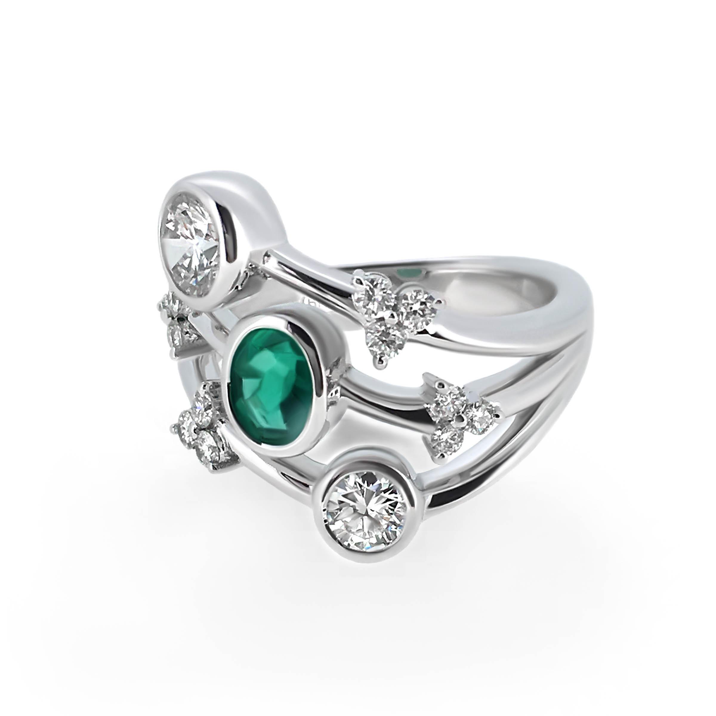 emerald and diamond cocktail ring- haywards of hong kong