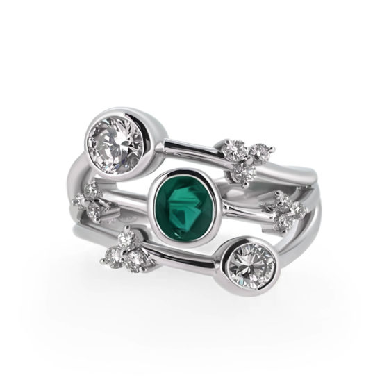 cocktail ring with diamonds and emeralds- haywards of hong kong
