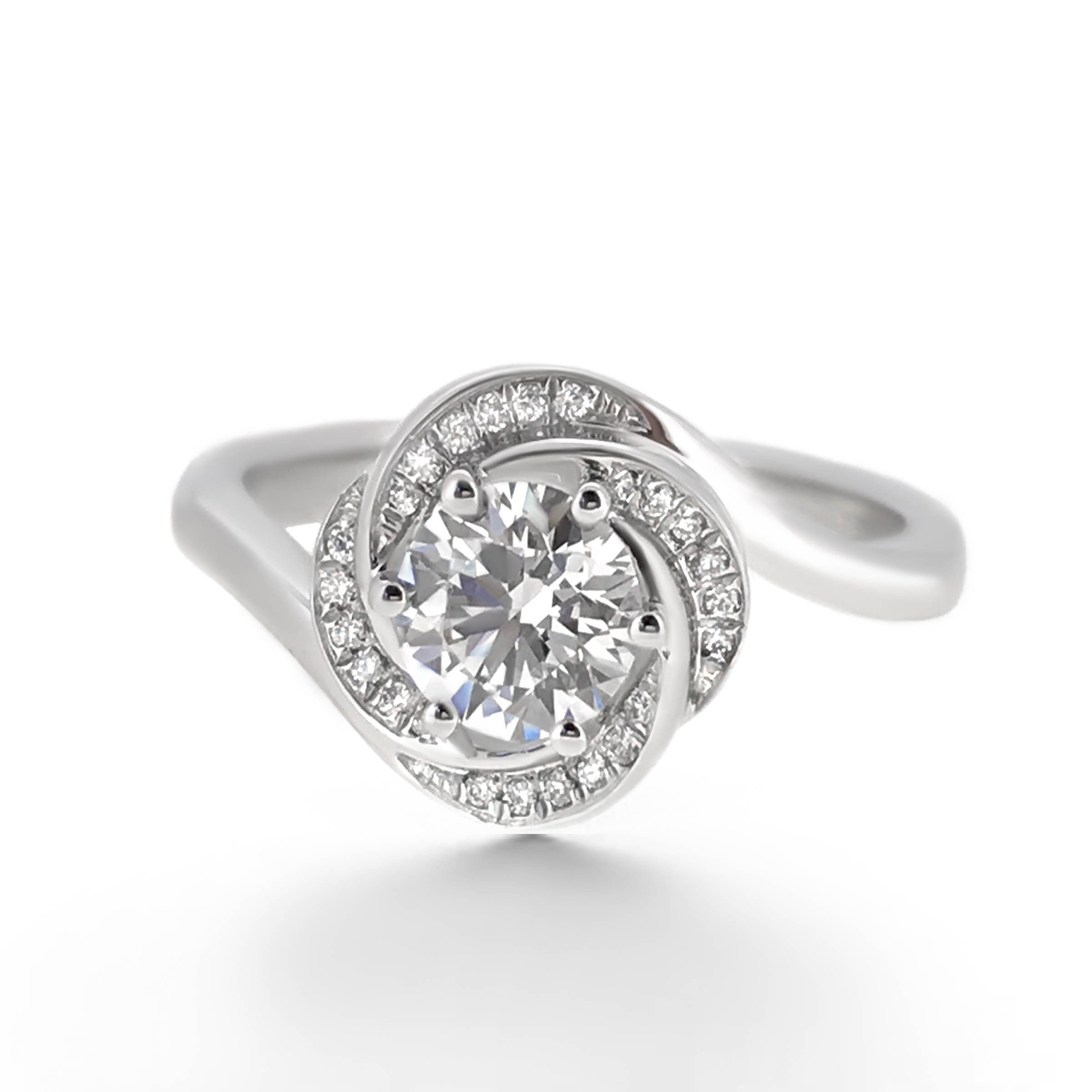 flower twist engagement ring- haywards of hong kong