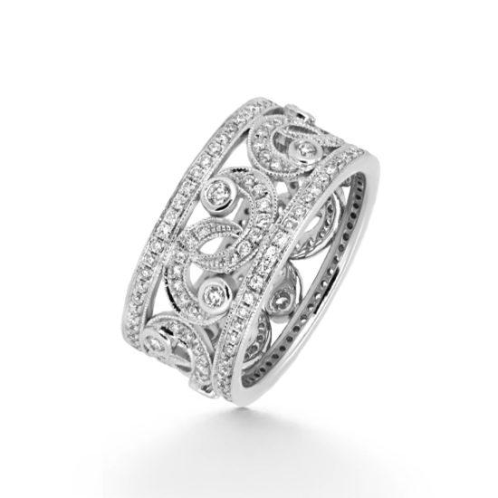 diamond pave floral dress ring- haywards of hong kong