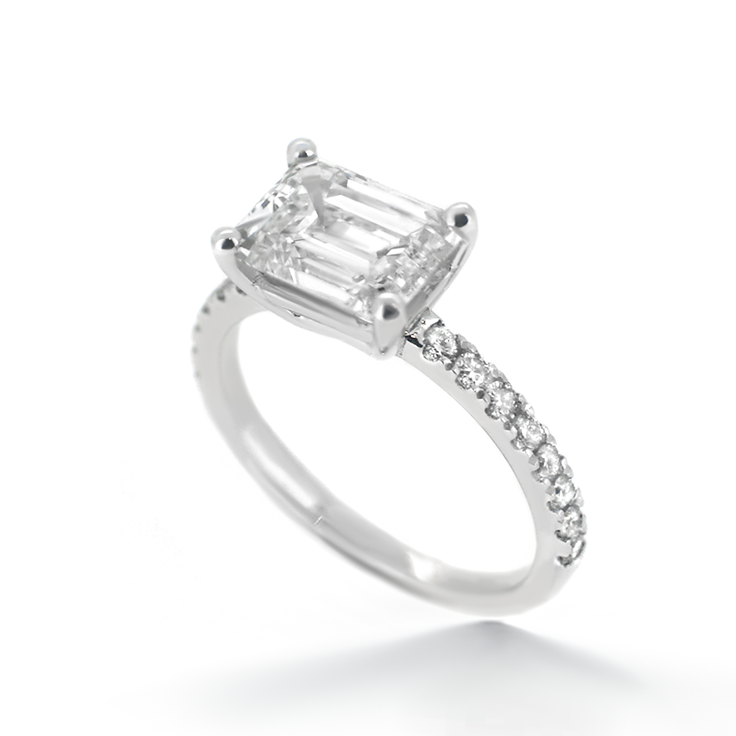 emerald cut diamond engagement ring with pave diamond side-stones- haywards of hong kong