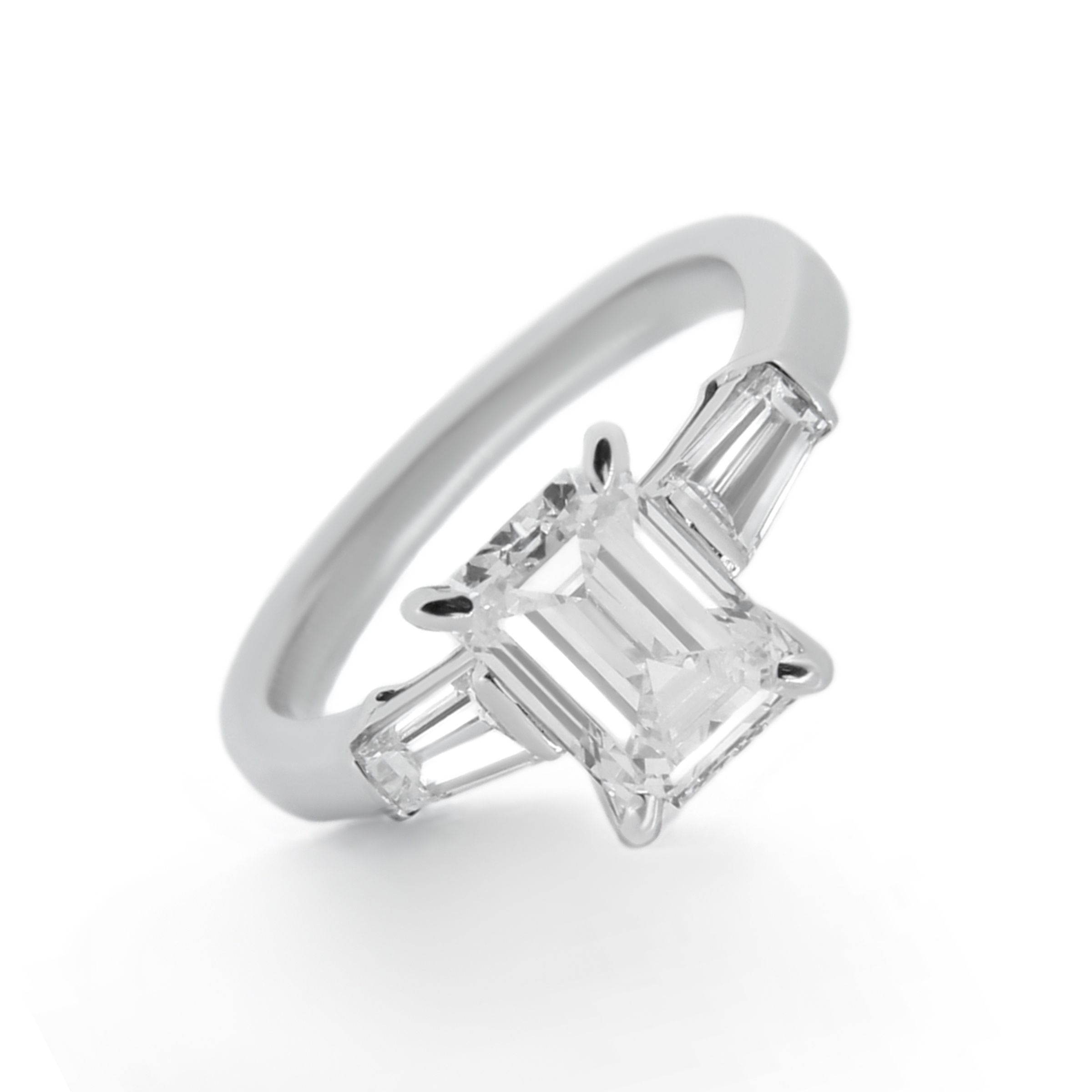 emerald cut diamond ring with baguette side stones- haywards of hong kong