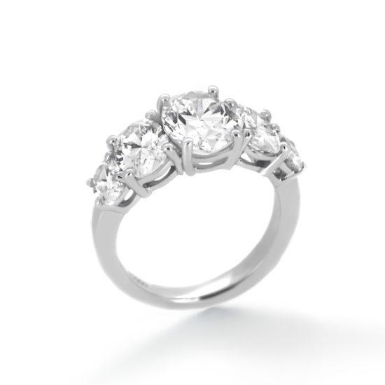 five oval diamond ring- haywards of hong kong
