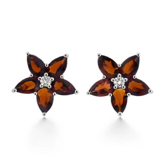 garnet stud and diamond earrings- haywards of hong kong