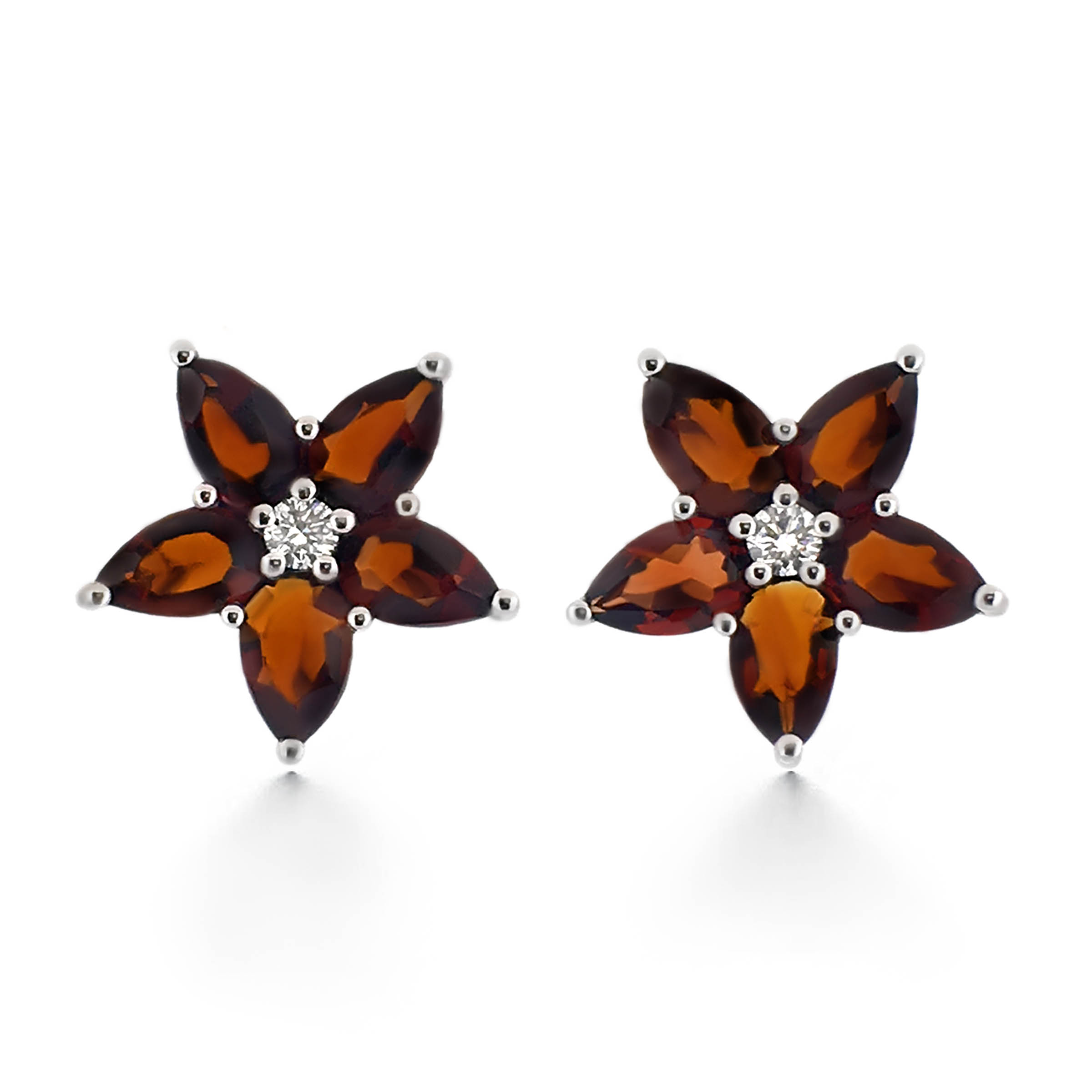garnet stud and diamond earrings- haywards of hong kong