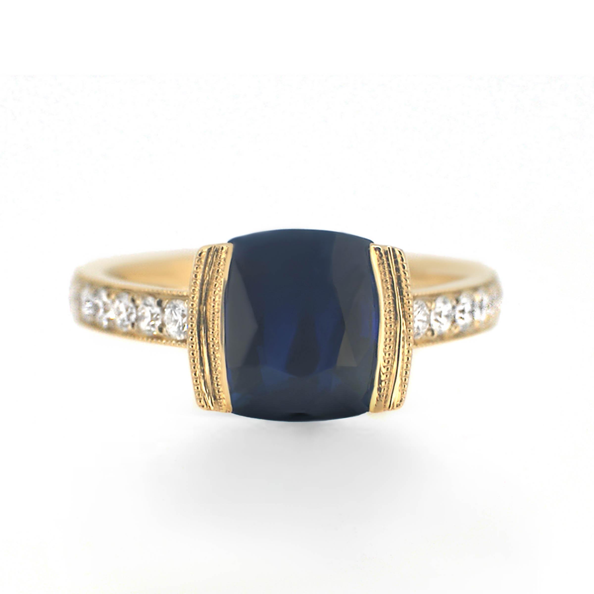 sapphire and diamond engagement ring- haywards of hong kong