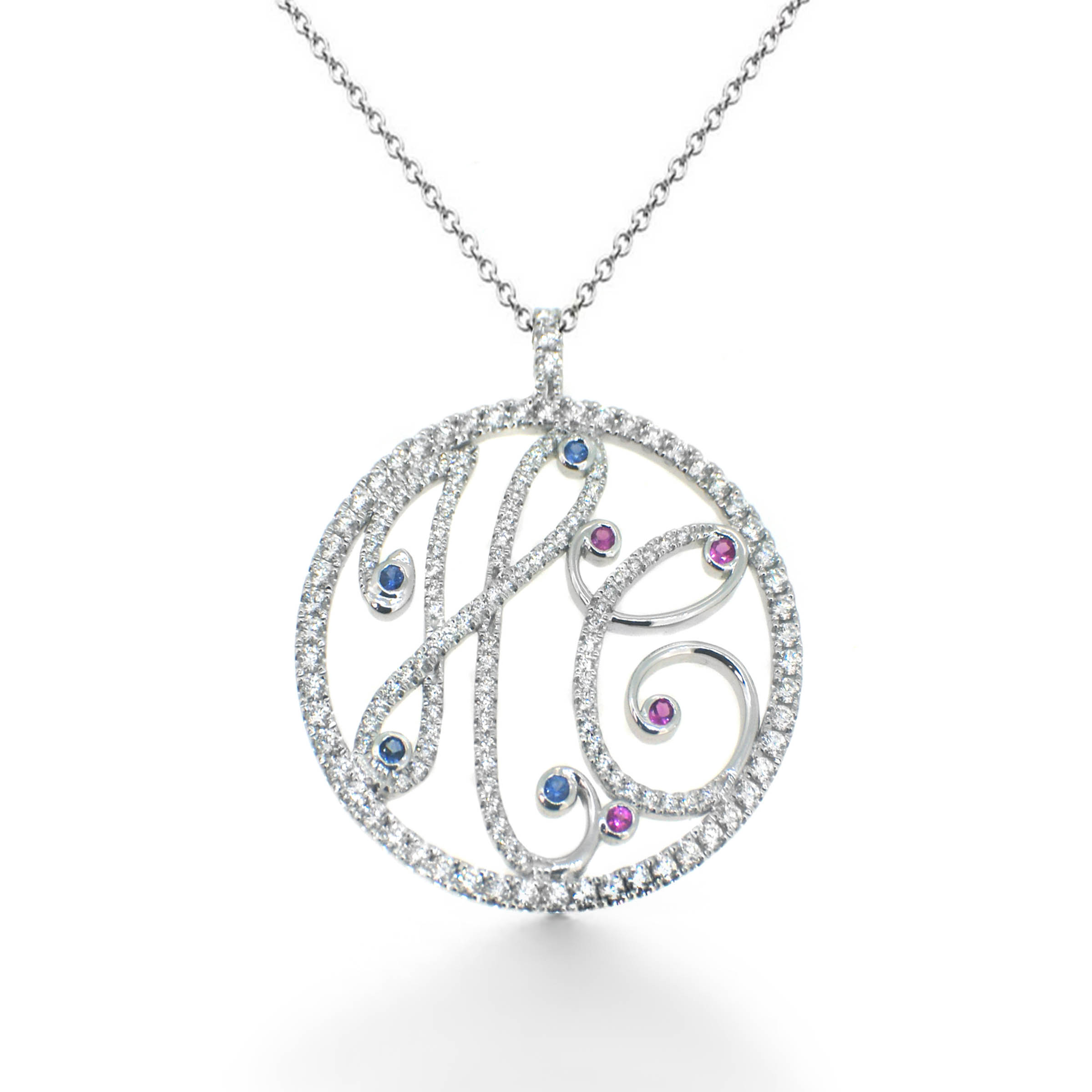 diamond monogram pendant- haywards of hong kong