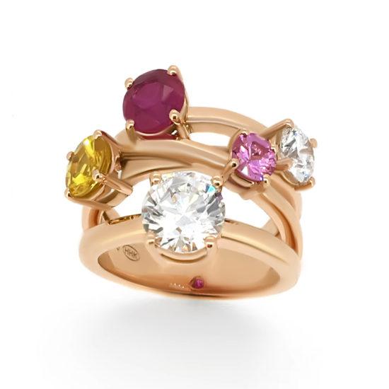 diamond and gem dress ring- haywards of hong kong