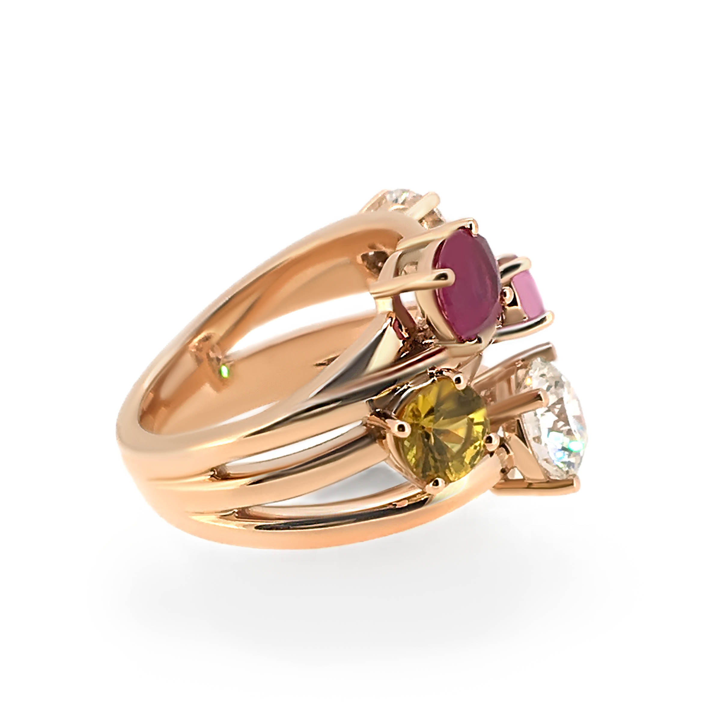multi-gem cocktail ring- rose gold ring- haywards of hong kong