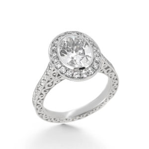 vintage style oval diamond engagement ring- haywards of hong kong