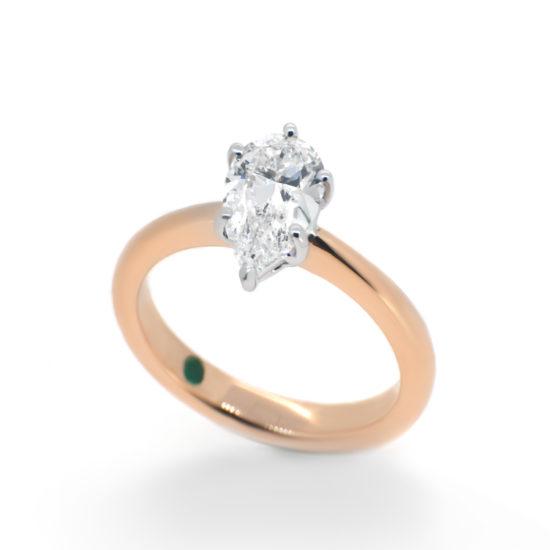 pear cut diamond engagement ring- haywards of hong kong