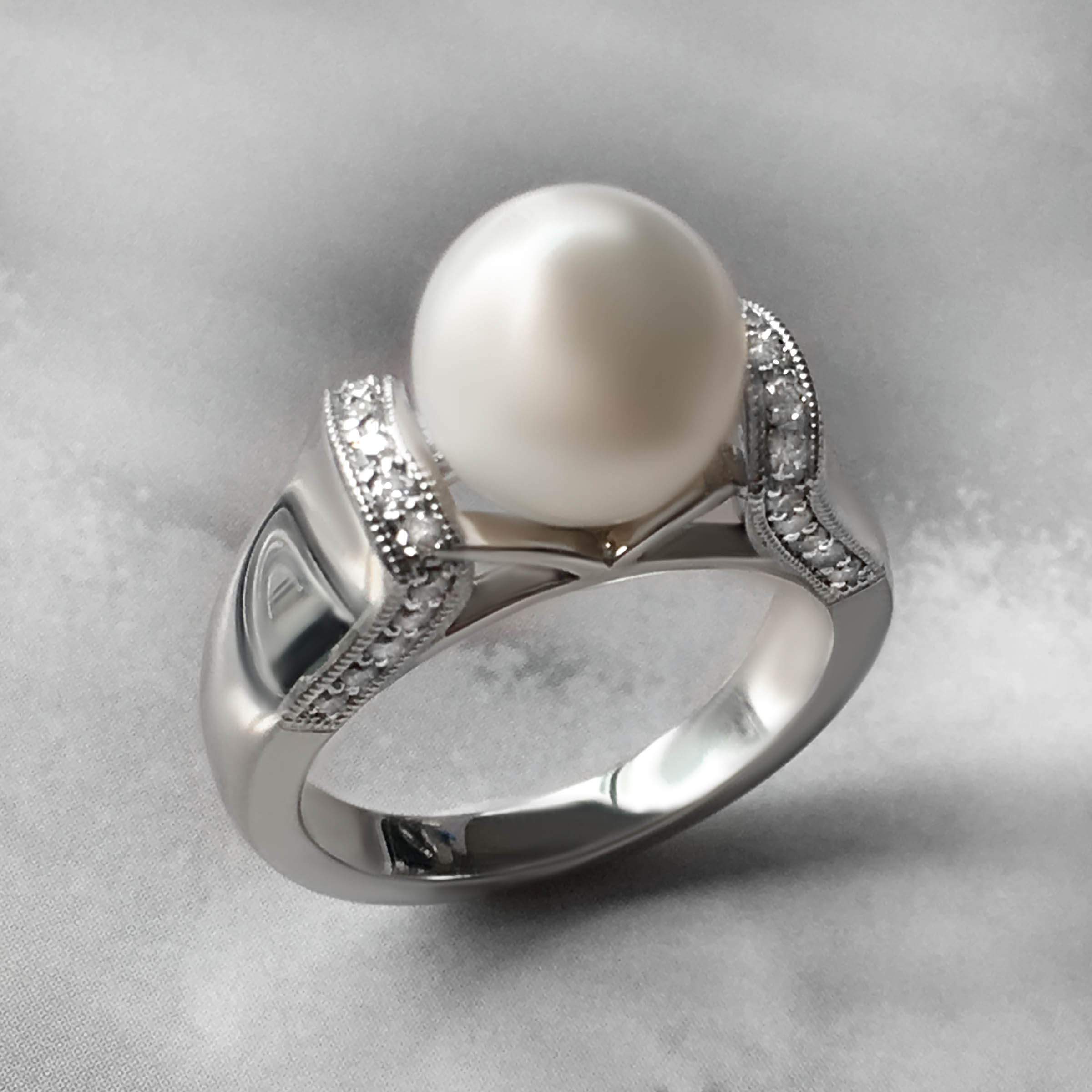 pearl engagement ring- haywards of hong kong