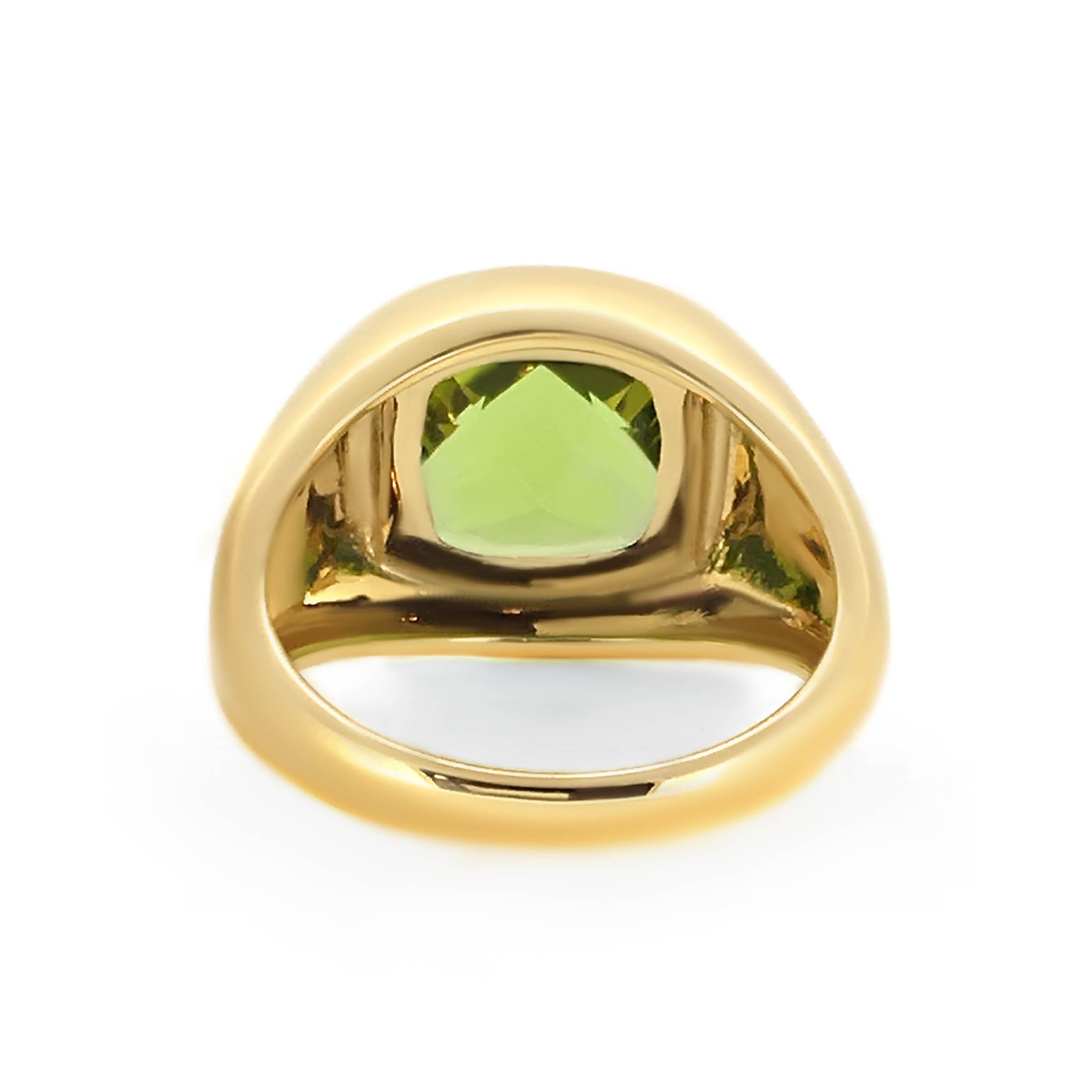 yellow gold peridot dress ring- haywards of hong kong