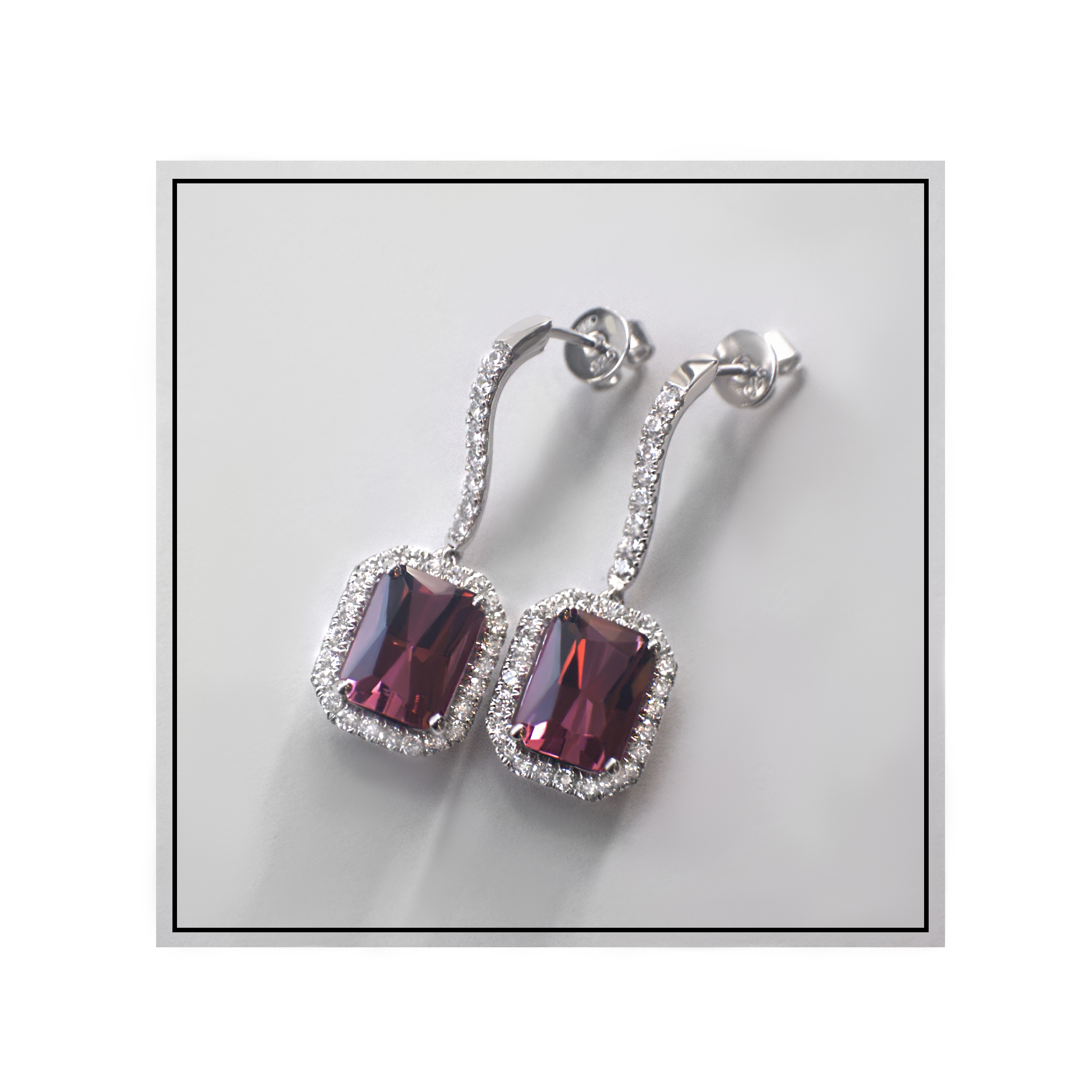 pink tourmaline earrings- haywards of hong kong