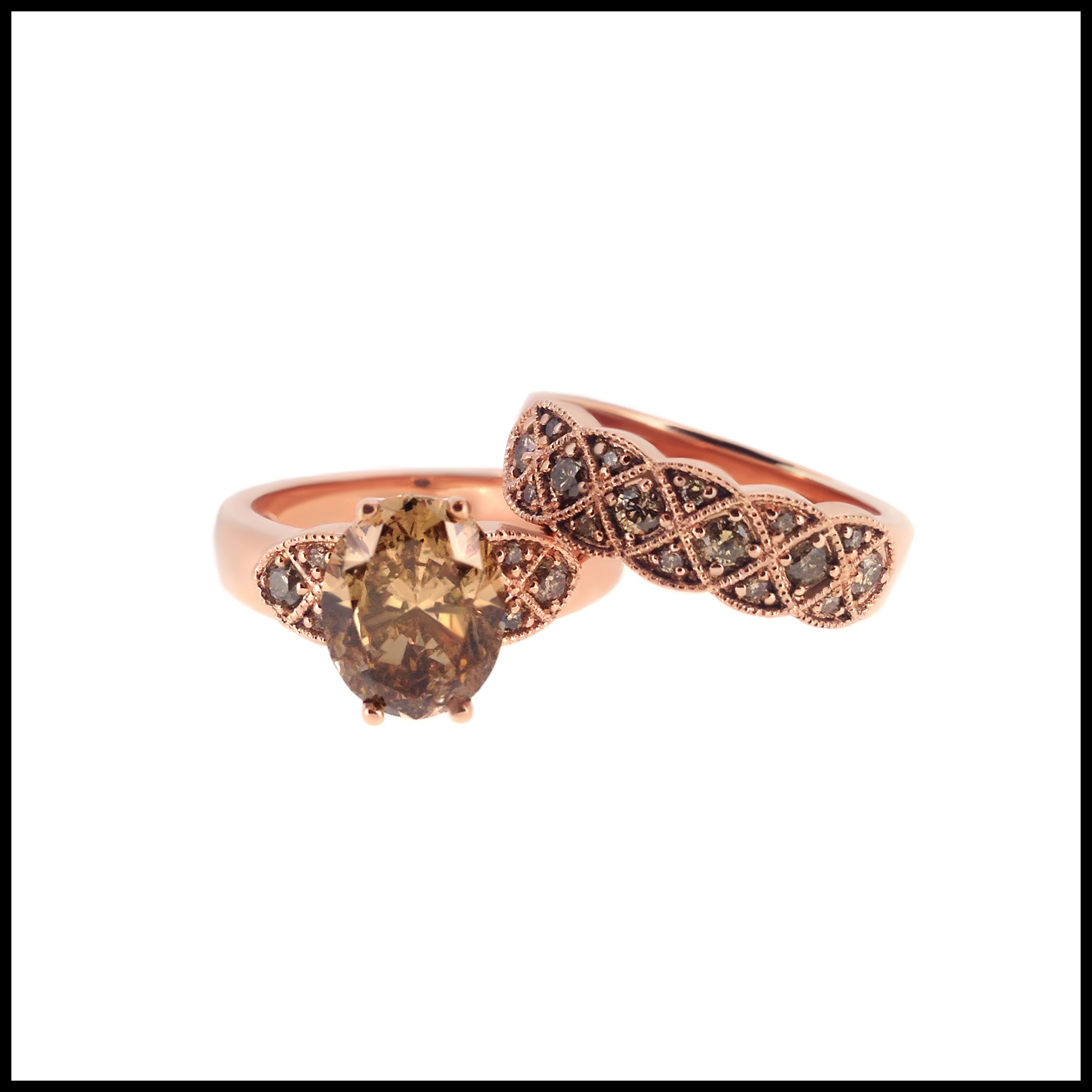 rose gold engagement ring and wedding band- haywards of hong kong