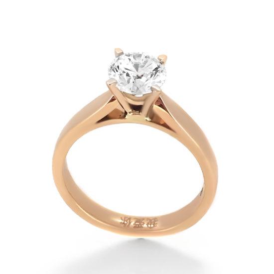 diamond solitaire ring- rose gold- haywards of hong kong