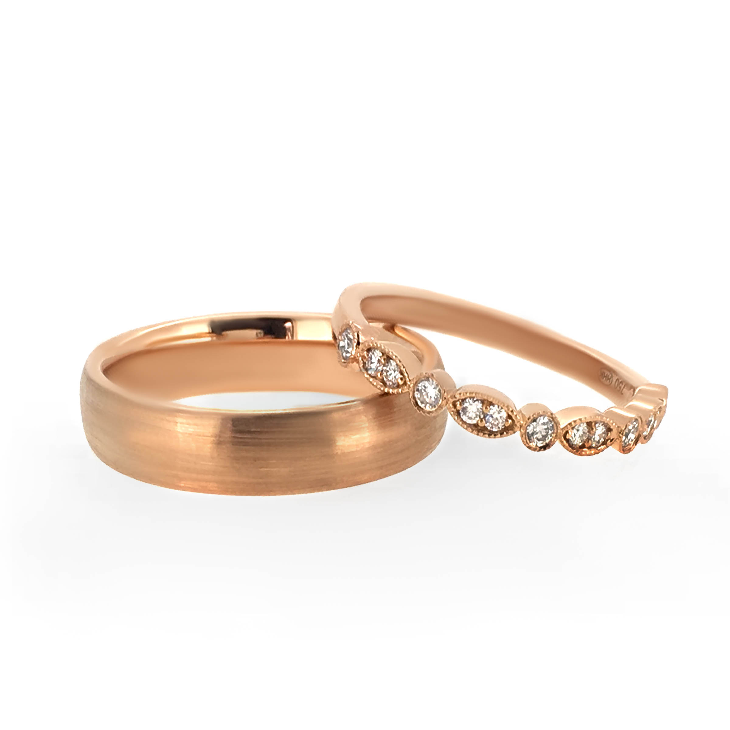 rose gold diamond wedding bands- haywards of hong kong