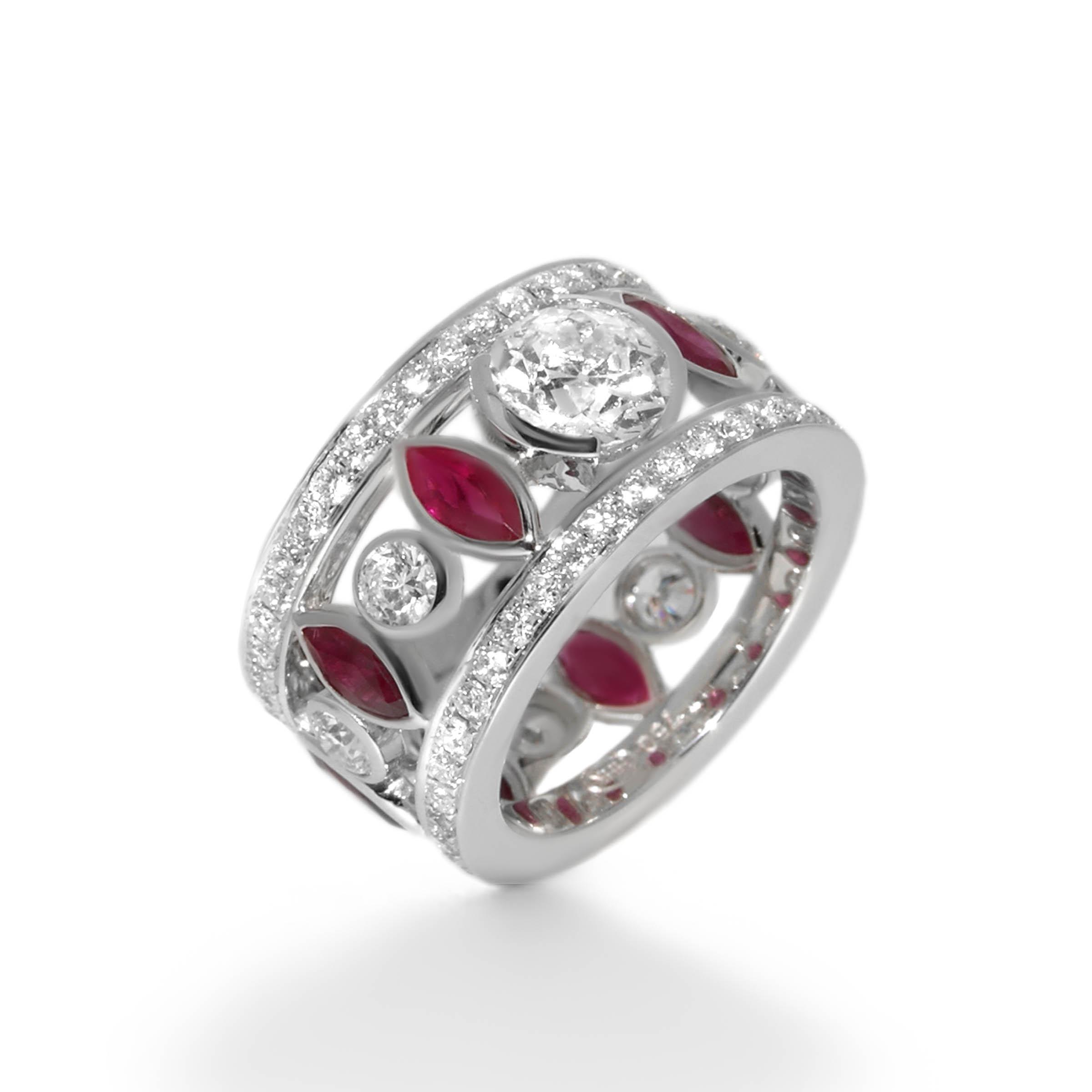 diamond and ruby cocktail ring- haywards of hong kong