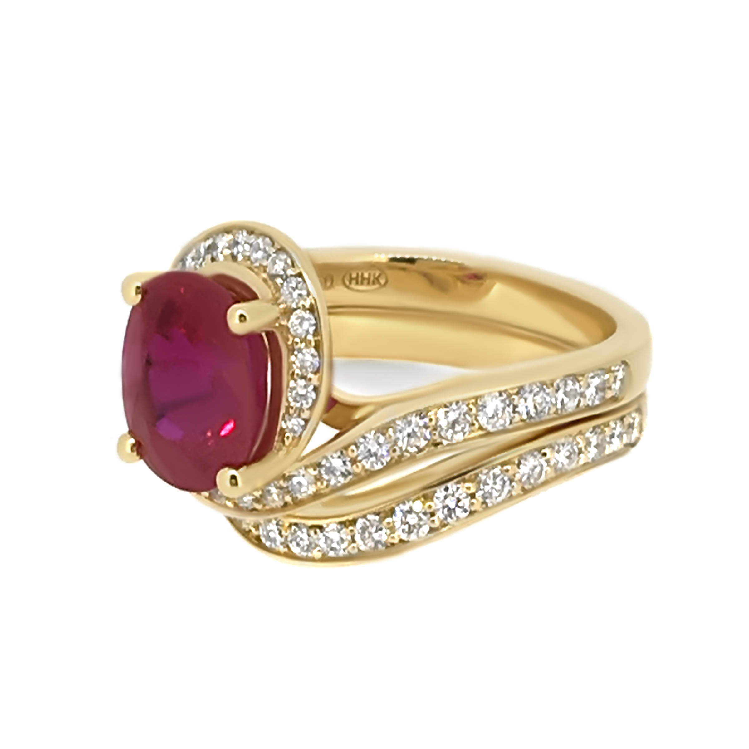 ruby and diamond twist ring- haywards of hong kong