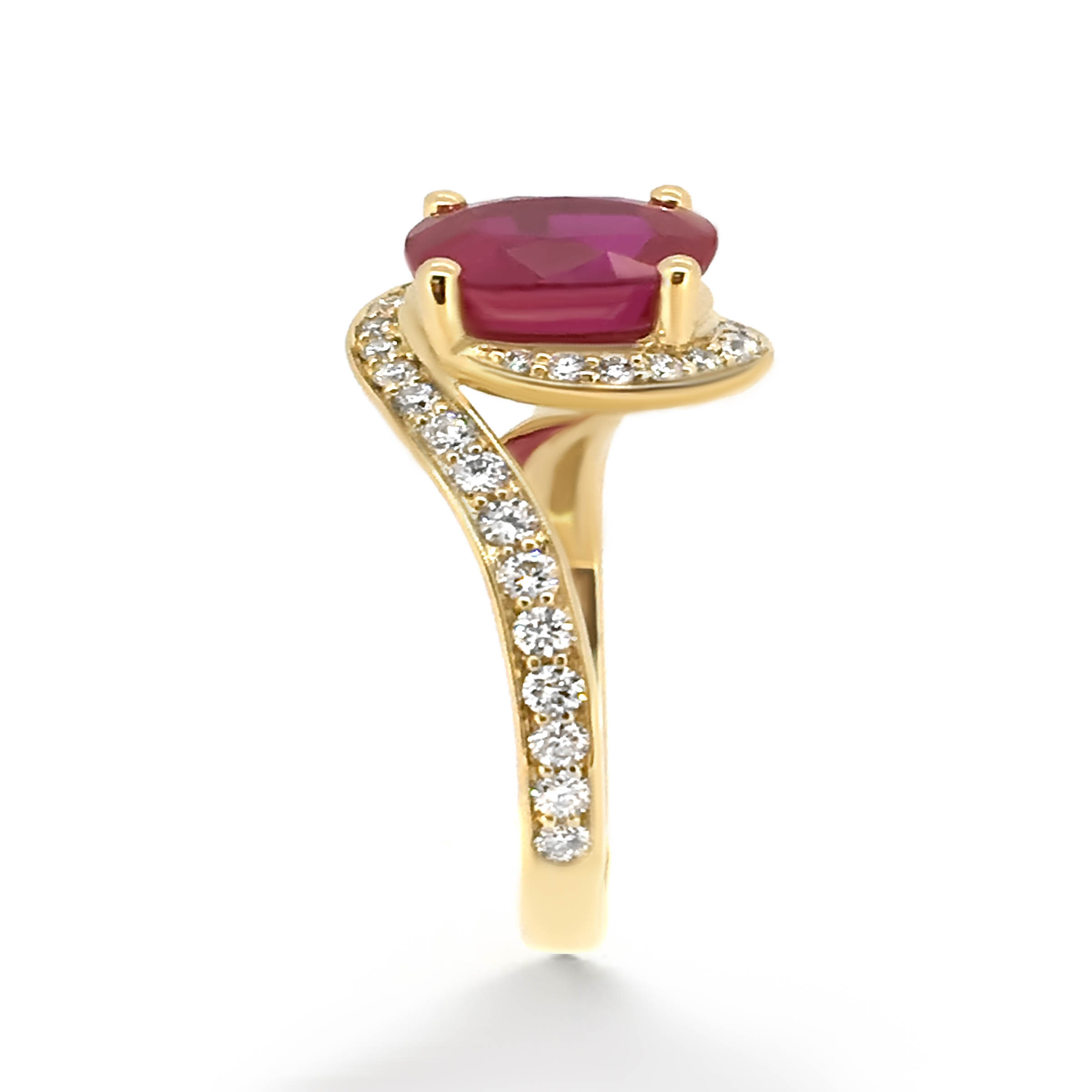 ruby twist engagement ring- yellow gold- haywards of hong kong