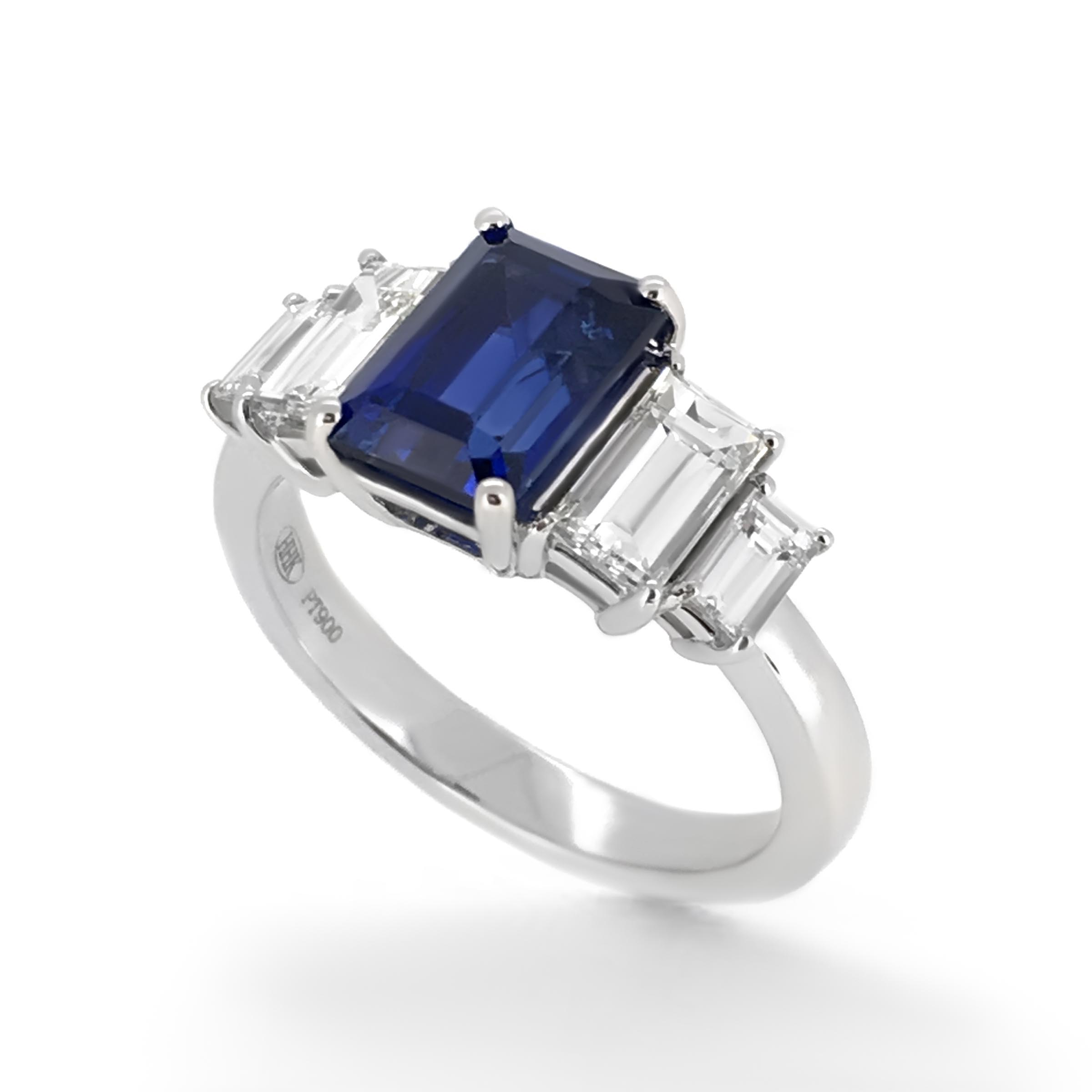 sapphire and baguette diamond engagement ring- haywards of hong kong