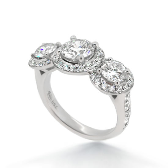 trilogy diamond ring with halos- haywards of hong kong