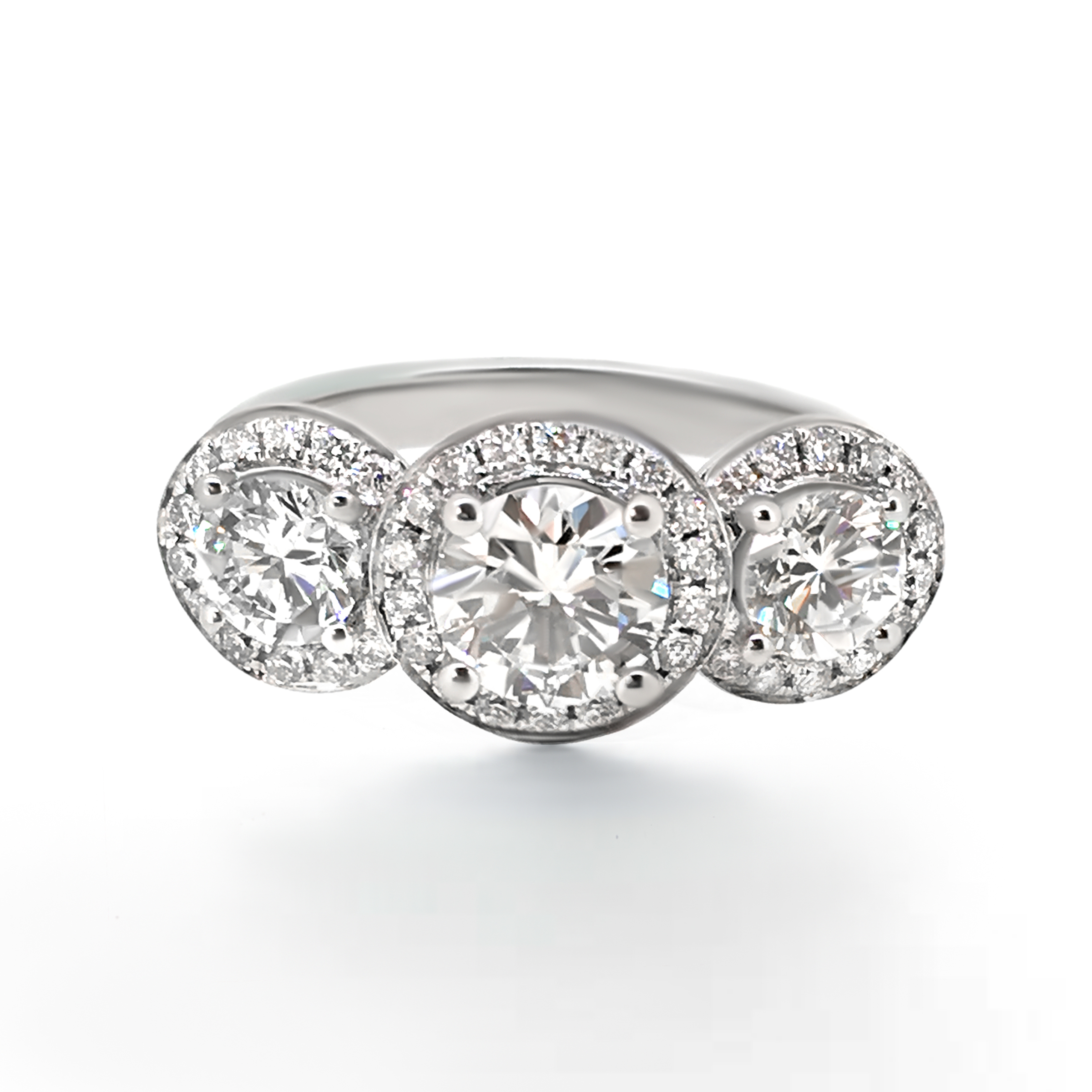 trilogy diamond ring with halos- haywards of hong kong