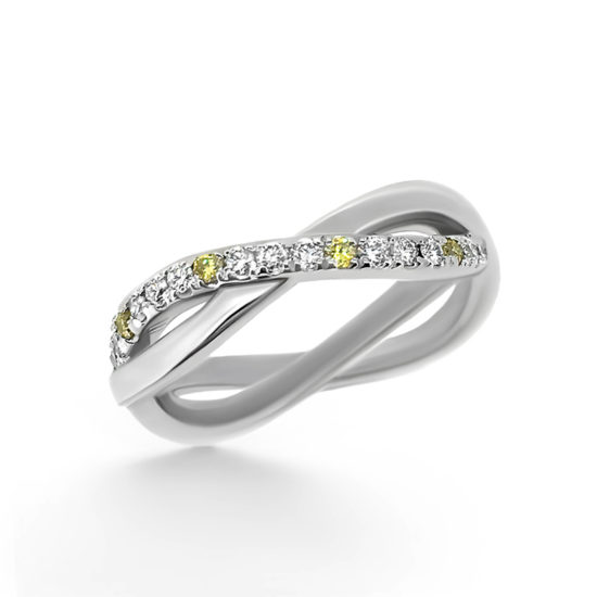 yellow and white diamond wedding band- haywards of hong kong