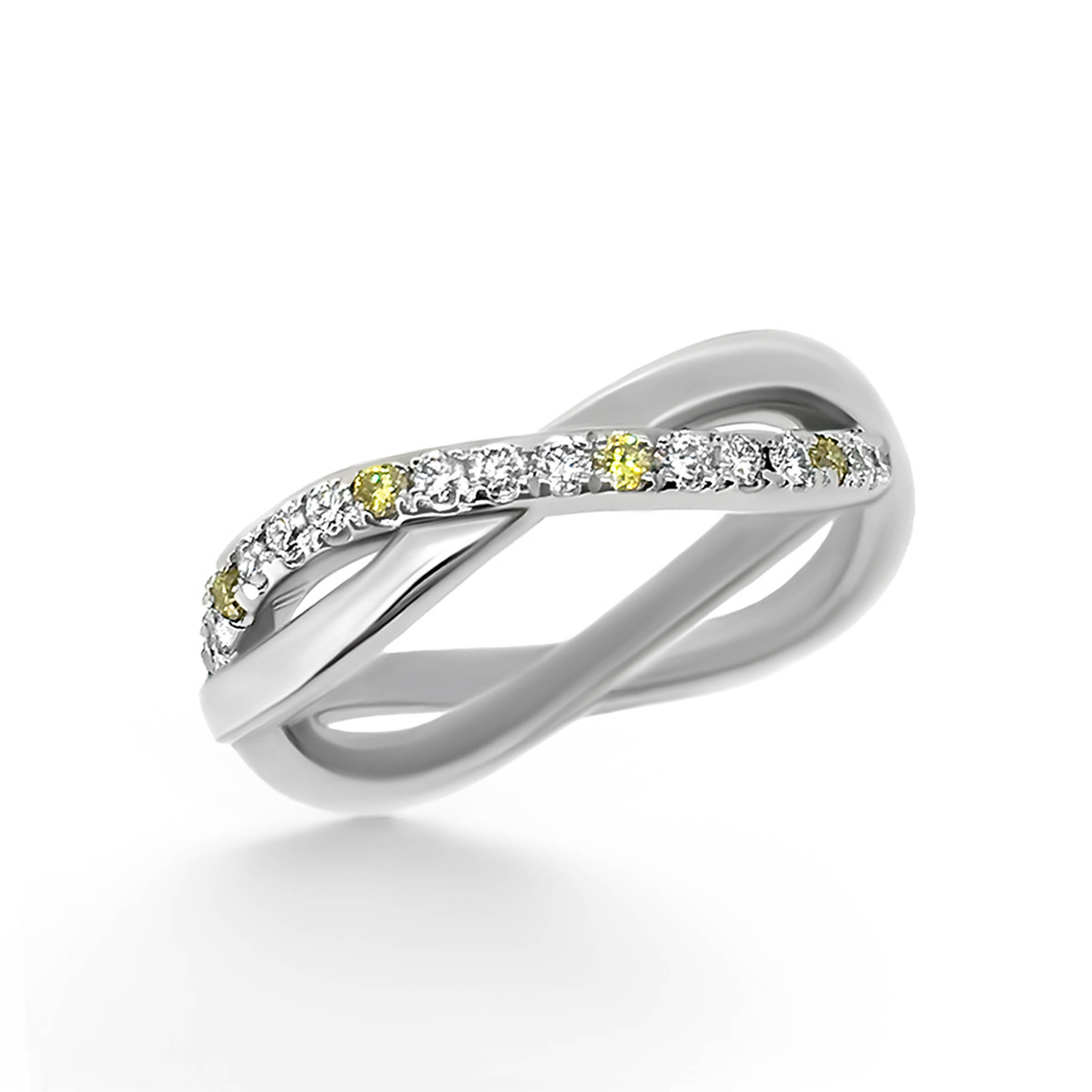 yellow and white diamond wedding band- haywards of hong kong