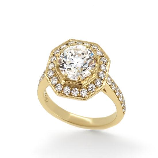vintage style yellow gold engagement ring- haywards of hong kong