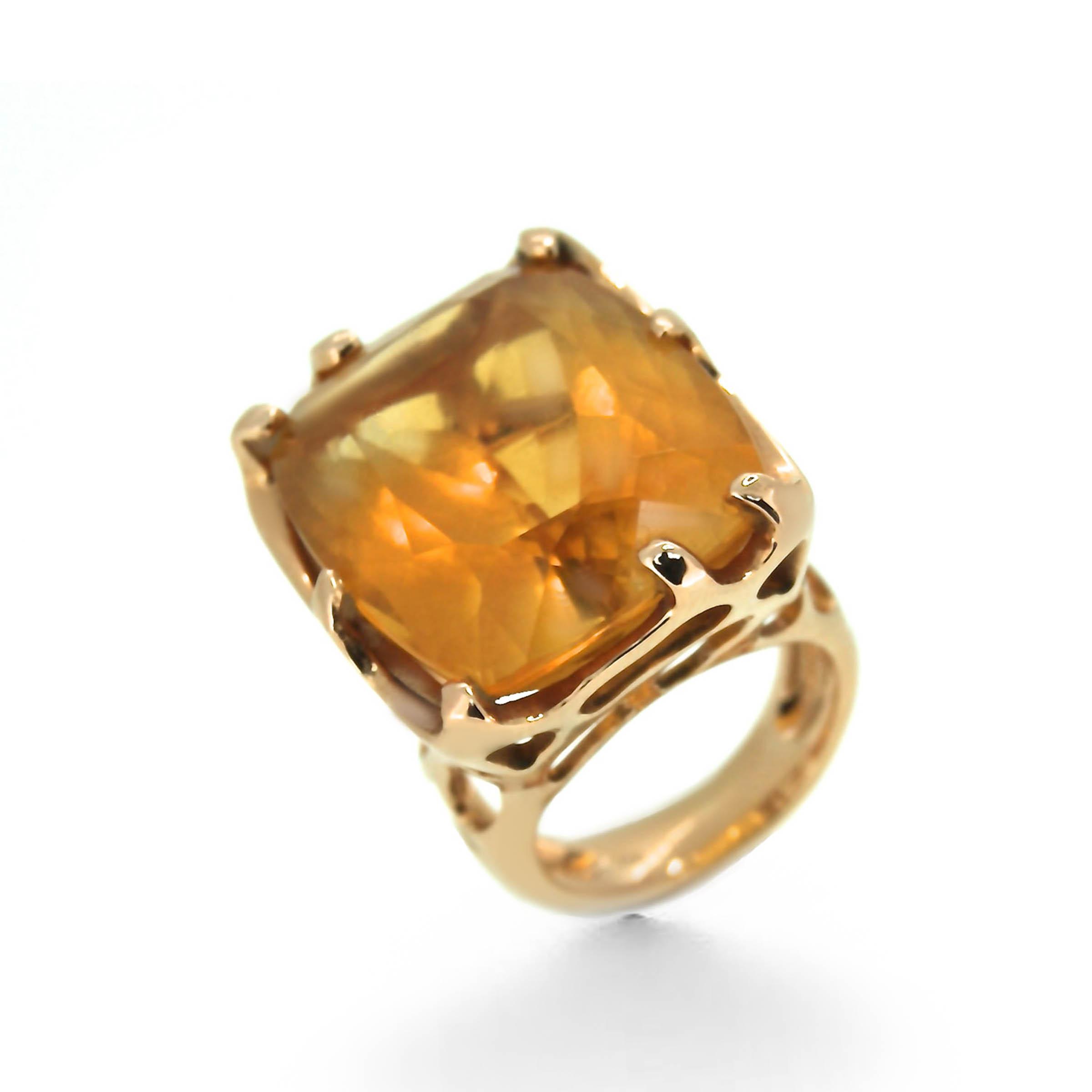 citrine ring- rose gold- haywards of hong kong