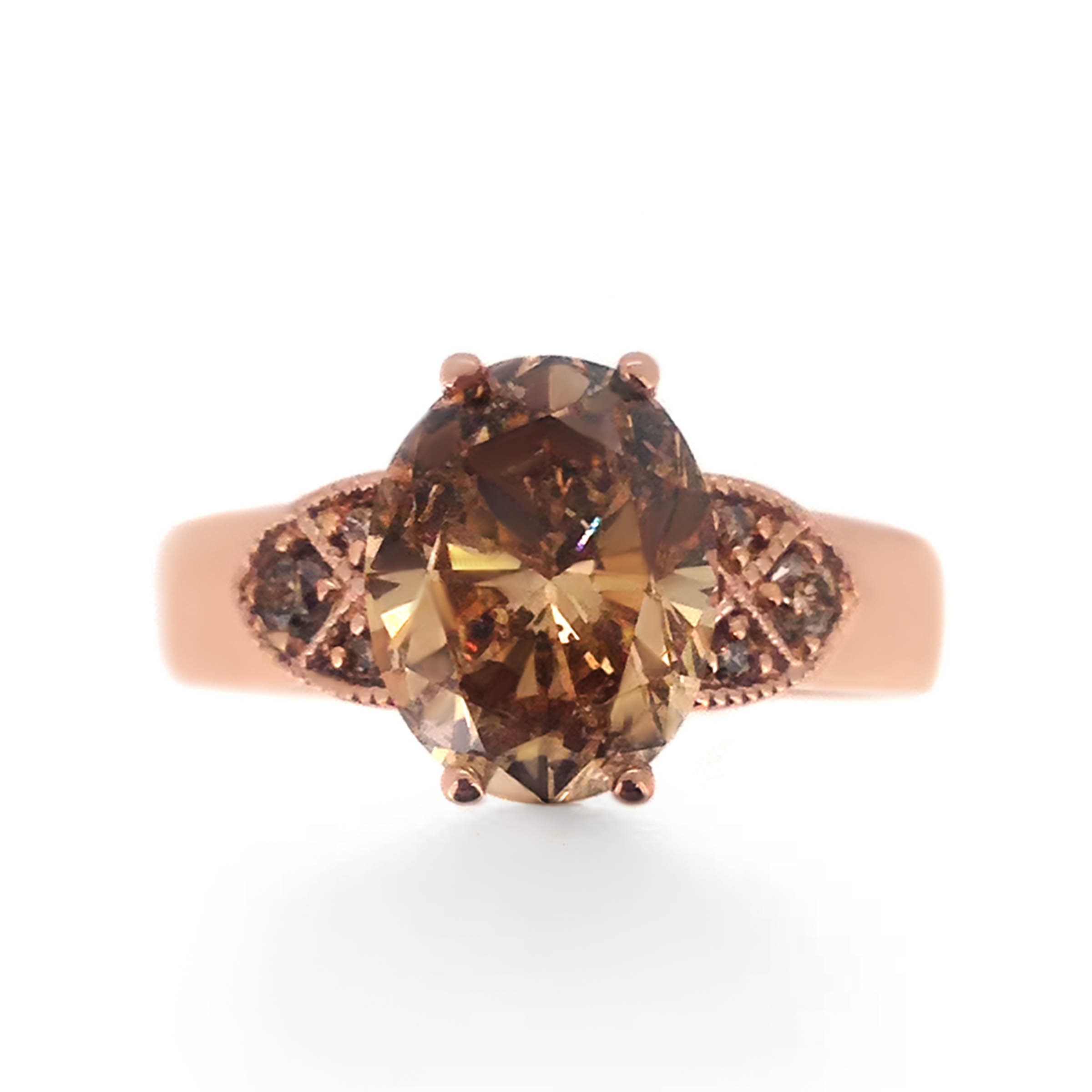 chocolate diamond engagement ring- vintage style- haywards of hong kong