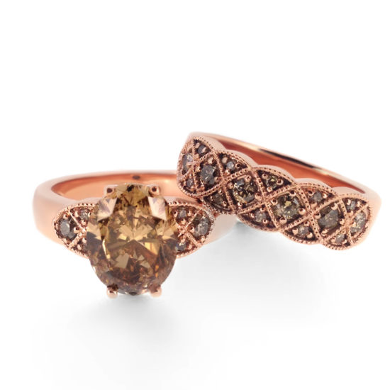 chocolate diamond engagement ring and wedding band set- haywards of hong kong