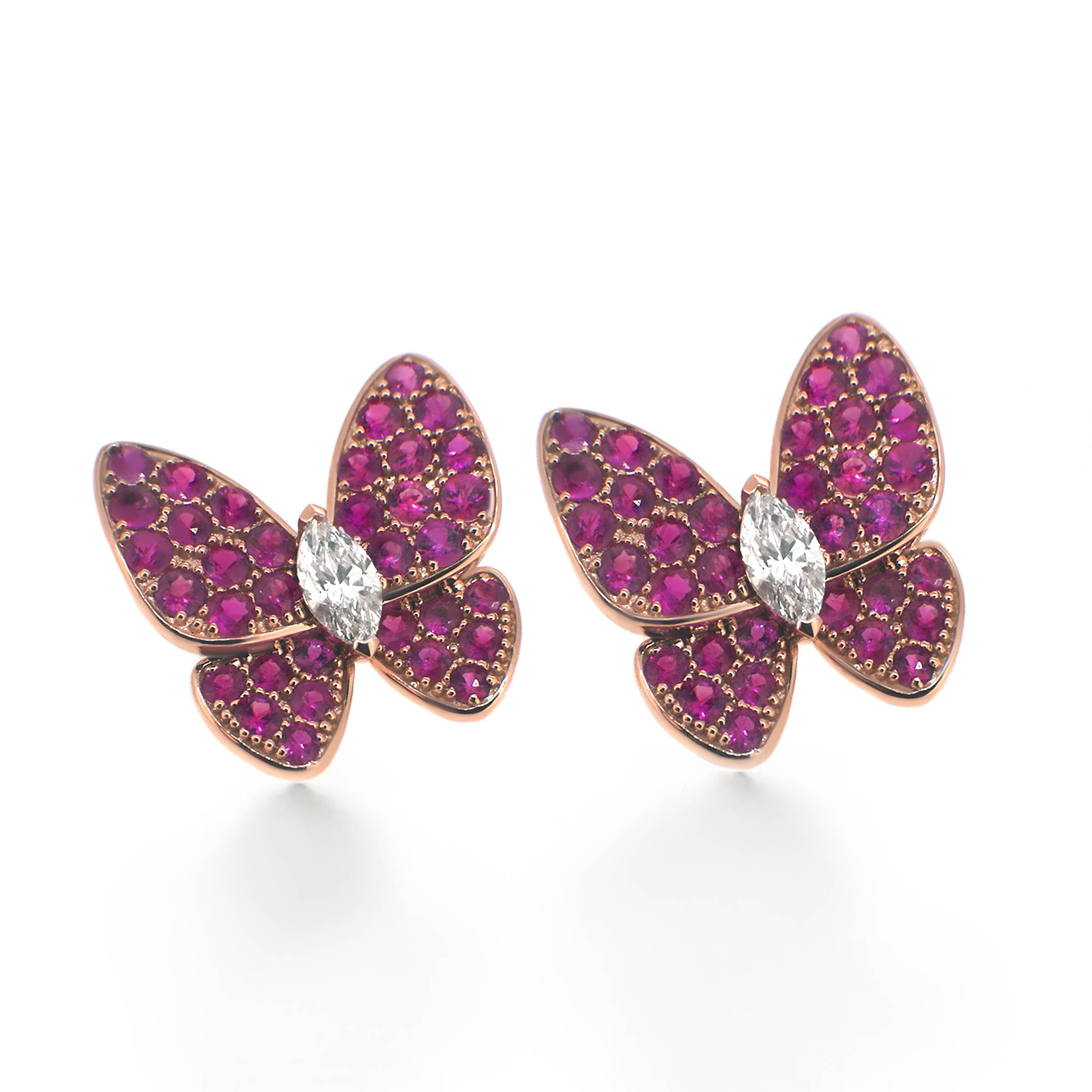 ruby butterfly and marquise diamond earrings- haywards of hong kong